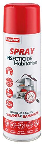 BEAPHAR - Spray insecticide habitation - Tue les insectes volants, rampants, les œufs et larves - Pour traiter des zones ciblées - Action longue durée jusqu'à 3 mois - Flacon 500ml