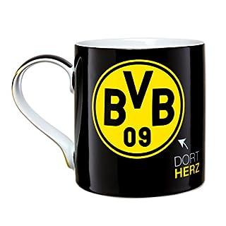 Borussia Dortmund BVB Tasse mit Emblem, Steingut, Schwarz/Gelb, 10 x 10 x 15 cm
