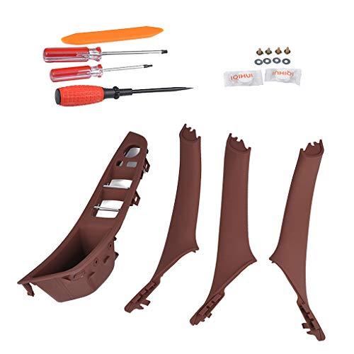 Preisvergleich Produktbild B Baosity 4er Set Türgriff Fensterheber Schalter Button Frame Panel mit Werkzeug für BMW F10 F18 5 Series - Braun