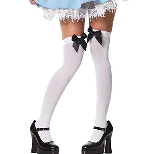 BOLAWOO-77 Neue Modische Samt Spitzen Bogen Super Hohe Soft Socken Mode Marken Knie Socken Young Fashion Elastisch Vintage Normallacks Classic (Color : Black/White, Size : One Size) -