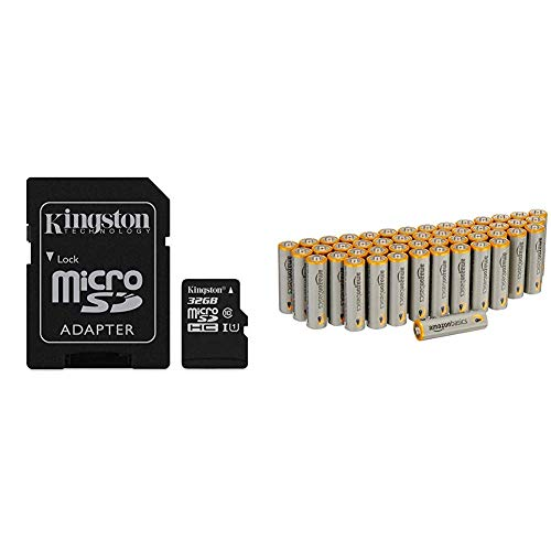 Foto Kingston SDCS/32GB Canvas Select Scheda MicroSD 32 GB, Velocità UHS-I di Classe 10 fino a 80 MB/s in Lettura, con Adattatore SD & AmazonBasics - Pile Stilo Alcaline AA Performance, confezione da 48