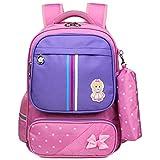 Rucksack,Schön Schulrucksack Wasserdicht Daypack Praktisch Backpack Große Kapazität Schultasche Mädchen Cityrucksack Niedlich Rucksack mit Mäppchen (Blau)-Pink