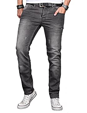 A. Salvarini Herren Designer Jeans Hose Stretch Basic Jeanshose Regular Slim