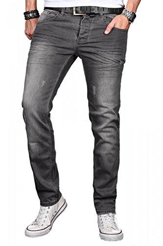 A. Salvarini Herren Designer Jeans Hose Stretch Basic Jeanshose Regular Slim [AS049 - W34 L30], Middle Grey Used