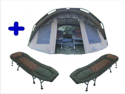 """MK-Angelsport """"Fort Knox 2 Mann Dome"""" Zelt Karpfenzelt + 2 x 8-Bein-Liegen incl. Gummihammer"""