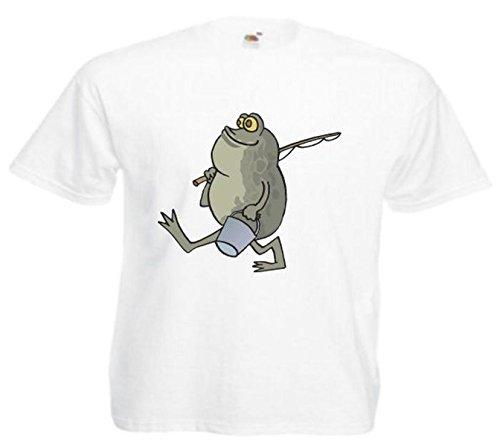 Motiv Fun T-Shirt Frosch in Fischerei Cartoon Spass Kult Film Motiv Nr. 10553 Weiß