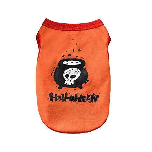 Dastrues Haustier Hund Kleidung SüßÄrmellose Weste Halloween Kostüm Geist Spinne Muster Haustier Westen - Orange, Large