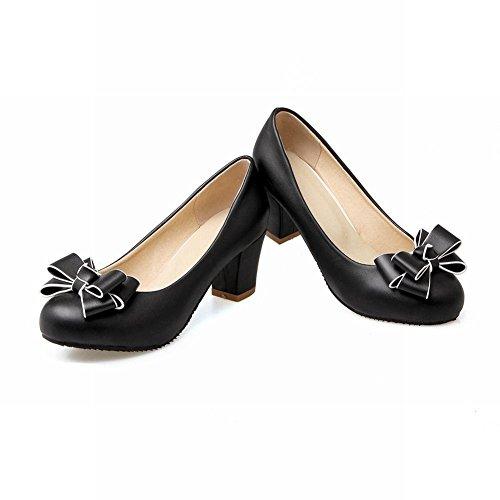 YE Damen Chunky Heels Pumps Rockabilly Geschlossene High Heels Plateau mit Schleife und 6cm Absatz Elegant Kleid Schuhe - 2