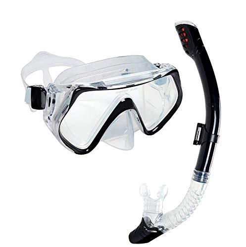 OBOSOE schnorchelset Snorkel Máscara con Anti-Fog Gafas de Buceo y Dry Snorkel Válvula de Purga y Anti-Fog Tacher Máscara Buceo Buceo Máscara de Vidrio Templado para Adultos y niños