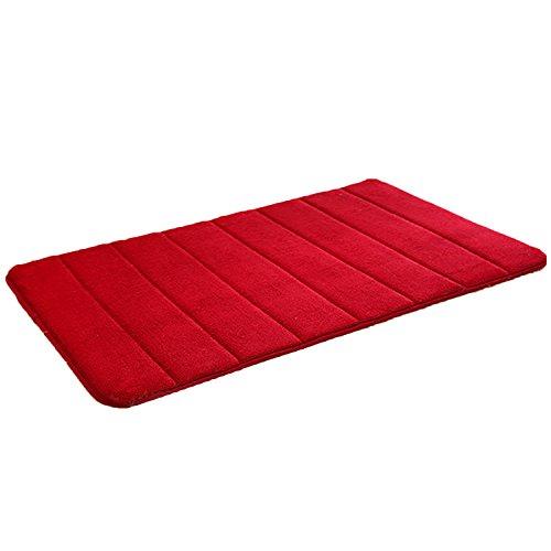 Gosear 40 x 60cm memoria schiuma coral in pile tessuto antiscivolo piano stuoia sicurezza casa bagno servizi igienici vivere camera piano tappeto pad rosso