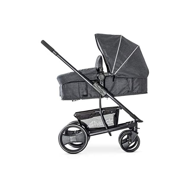 Hauck Pacific 4 Shop N Drive, Lightweight Pushchair Set with Group 0 Car Seat, Carrycot Convertible to Reversible Seat, Footmuff, Large Wheels, From Birth to 25 kg, Melange Charcoal Hauck  14