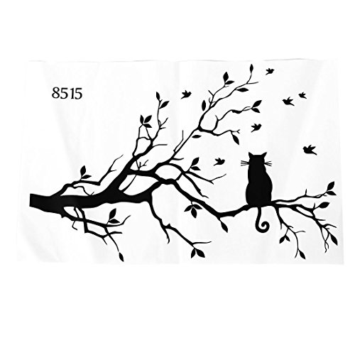TOOGOO(R) Neu gestaltete Katze auf langem Baum Zweig DIY Vinyl Wandaufkleber Tiere Voegel Wandabziehbild Kunst Transfers Fensteraufkleber Zuhause Dekor-38 * 58cm