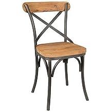 chaise en fer bois massif de teck laqu inspiration vintage 1920s original - Chaise En Fer