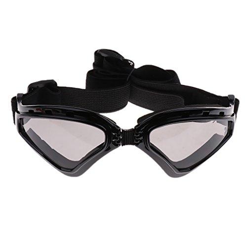 perfk Coole Hundebrille UV-Schutz Sonnenbrille Wasserdicht Schutzbrille für Kleine und Große Hunde - Schwarz