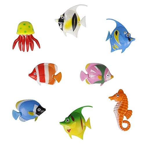 EPRHY Kunststoff-Lampe, bunt, Sortiert, für Tropische Fische, Quallen und Seepferdchen, 8 Stück (Fische Tropische Kunststoff)