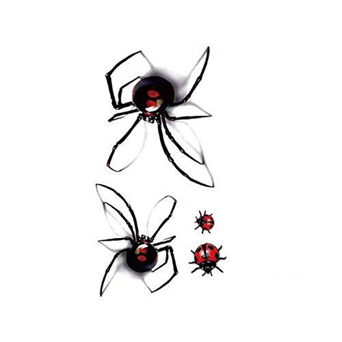 EROSPA® Tattoo-Bogen temporär / Sticker - 2 x Spinne 2 x Marienkäfer - Wasserfest
