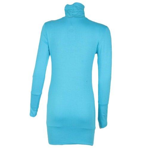 Encoche à manches longues pour femme à motif rétro Vintage col roulé femme Turquoise - Turquoise