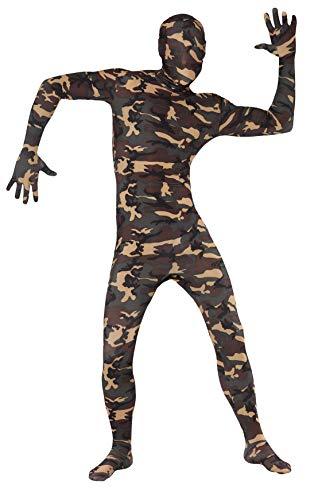 Kostüm Skin Second - Smiffys, Herren Second Skin Kostüm in Camouflage, Ganzkörperanzug mit Bauchtasche, Größe: XL, 23685