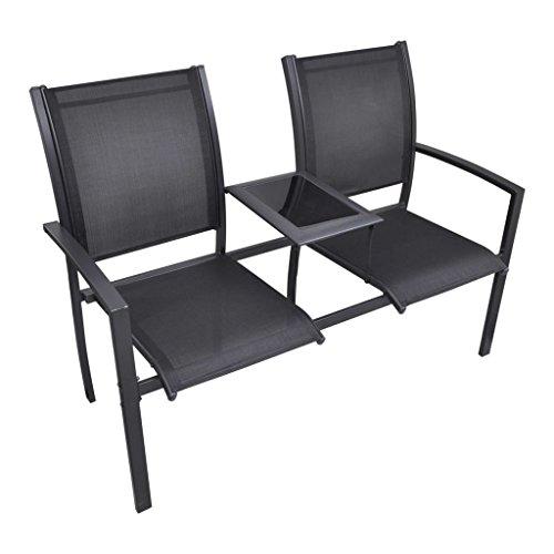 vidaXL 2-Sitz Doppelstuhl Textilien Liegestuhl Gartenstuhl Hochlehner Stahl