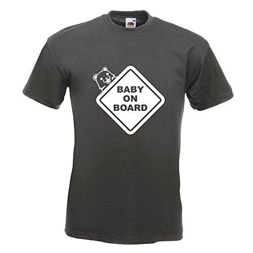 KIWISTAR - Baby on Board Pedobär T-Shirt in 15 verschiedenen Farben - Herren Funshirt bedruckt Design Sprüche Spruch Motive Oberteil Baumwolle Print Größe S M L XL XXL Graphit