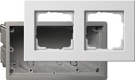 Gira 2882201 - Caja para Enchufe y Marco embellecedor 2 interruptores, E22, Color Blanco