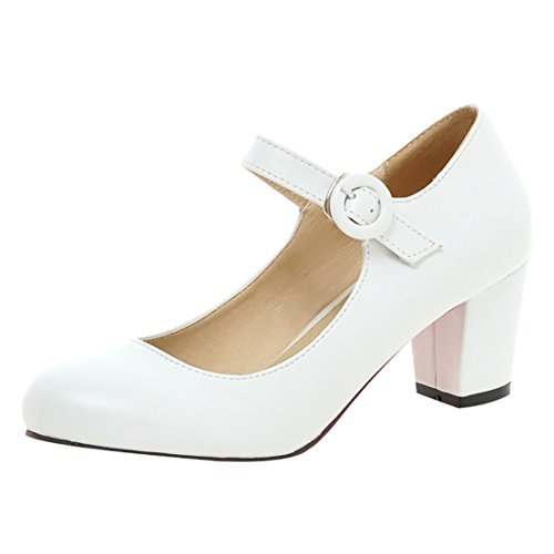 UH Femmes Bride Cheville Bout Rond Simple a Talon Bloc DE 6 cm Simple Confortable Blanc