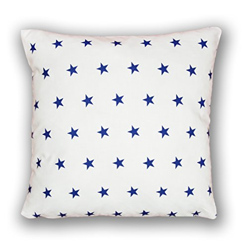 Amilian® Dekokissen Kissenbezug Kissen 80cm x 80cm Sternchen Blau auf weiß (A10) -
