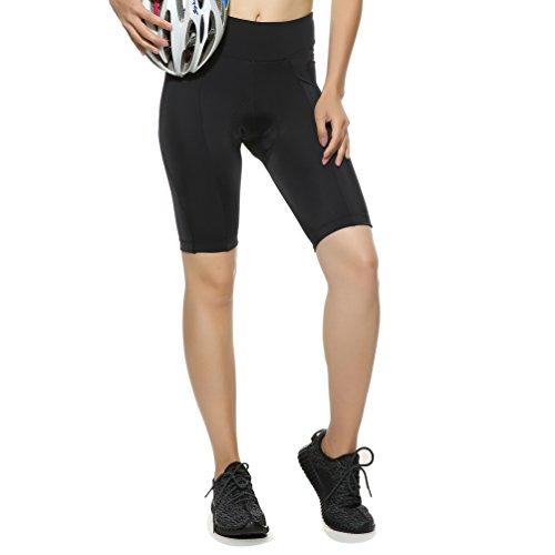 4Ucycling Kurz Fahrradhose Rad Hose für Damen mit Sitzpolster UPF 50+ Schwarz L