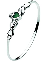 Heritage Womens Sterling Silver and Green Agate Celtic Claddagh Bangle 7260GA