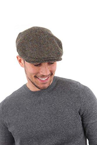 Harris Tweed Casquette Plate à Chevrons Laine Homme Vert