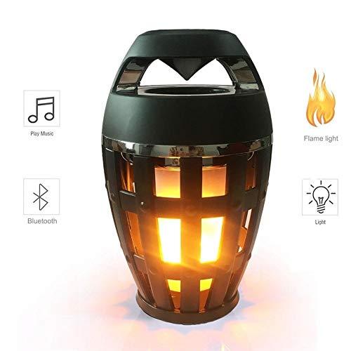 LIUMSJ Außenlautsprecher 2 in1 Flammenatmosphäre Lampe Licht Bluetooth Lautsprecher Tragbarer Drahtloser Stereolautsprecher mit Musikbirne Outdoor Camping Woofer Dual-woofer-box