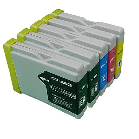Compatible Remplacer pour Brother LC1000 LC 1000 LC-1000 Cartouches d'encre Grande capacité Compatible avec Brother MFC-850CDWN MFC-860CDN MFC-870CDN MFC-870CDWN MFC-880CDN MFC-880CDWN MFC-885CW FAX-1355 FAX-1360 FAX-1460 FAX-1560 FAX-2480C Cartouches d'encre pour imprimantes jet d'encre (2 Noir,1 Cyan,1 Magenta,1 Jaune)