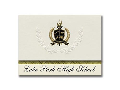 Signature Announcements Lake Park High School (Roselle, IL) Abschlussankündigungen, Präsidential-Stil, Elite-Paket mit 25 goldfarbenen und schwarzen Metallfolienversiegelungen