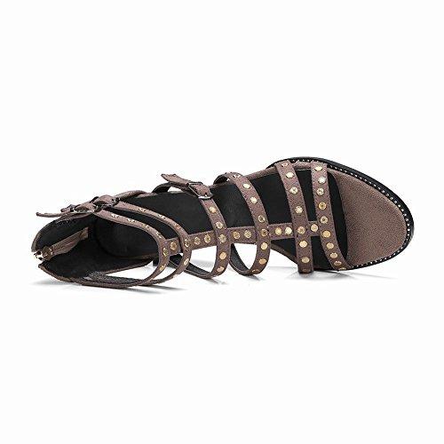 MissSaSa Femmes Santales Wedges Fermetures Eclair Chaussures Ouvertes à l'arrière Kaki