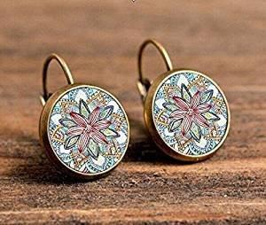 Yoga Jewelry Ohrringe, OM Symbol Buddhismus Zen Einzigartige ein Paar Mandala Blume Ohrring Glas Henna handgefertigt Ohrringe für Frauen