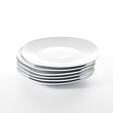 """Malacasa, Série ELISA, Set de 6 Assiettes Plat Carré 7.5""""/19*19*2cm Service Vaisselles de Table Dessert Porcelaine Céramique Blanc"""