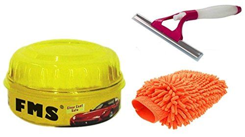 ManeKo Car Cleaning Combo for Maruti Suzuki A-Star All Models & Types - Double Sided Large Size Microfiber Hand Glove Duster for Cleaning & Washing Vehicles/Car, Bike, Houseware, FMS Carnauba Vehicle Wax Polish with High Gloss Shine & 2 in 1 Glass Cleaning Wiper with Water Spray Spout  available at amazon for Rs.435