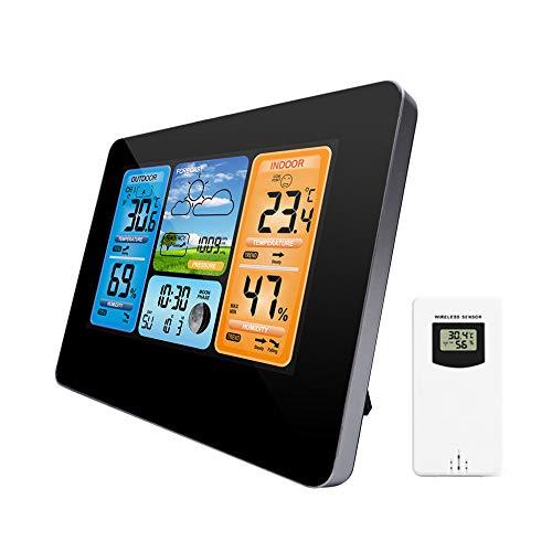 KCDE Estación Meteorológica, Reloj MeteorolóGico con Sensor LCD para Interiores/Exteriores Colorido...