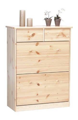 Steens Mario Schuhschrank, mit 2 Schuhkippen und 2 Schubladen, 78 x 103 x 34 cm (B/H/T), Kiefer massiv, Natur lackiert -