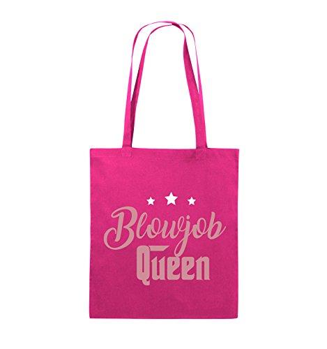 Comedy Bags - Blowjob Queen - Jutebeutel - lange Henkel - 38x42cm - Farbe: Schwarz / Weiss-Neongrün Pink / Rosa-Weiss