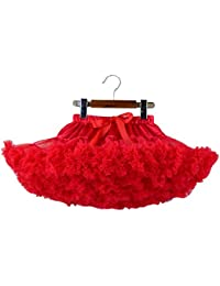 Con volantes de tul Ballet de las muchachas del niño del tutú de la falda de la danza de Pettiskirt 2-4 Años / S, Rojo