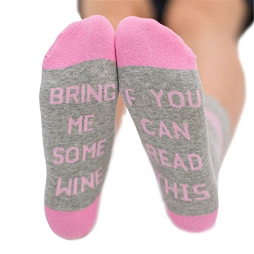 HMILYDYK If You Can Read This Bring Me Wine Cotton Creative Fashion Socks Christmas Gift Birthday Present for Women Girls
