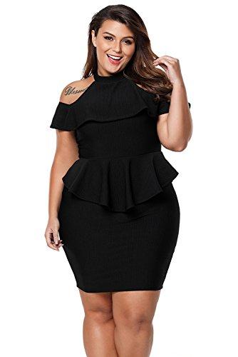 AMOYER Frauen Schwarz Plus Size Kalte Schulter Peplum figurbetontes Kleid (Plus Size Frauen Schößchen-kleid)