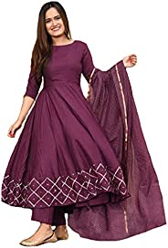 GoSriKi Women's Rayon Anarkali Kurta with Gold Printed Dup