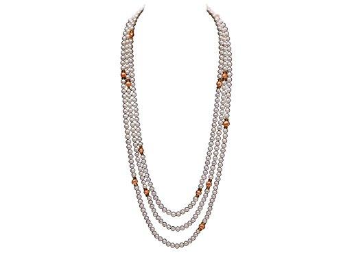jyx 6-7mm weiß rund Süßwasser Perlen alternierendes mit 7-8mm orange Perlen Halskette (Großhandel Kostüm Schmuck Perlen)
