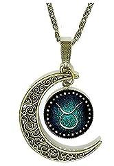 Idea Regalo - Collana Zodiaco da Donna e Uomo Toro - Segno Zodiacale - Luna - Costellazione - Oroscopo - Astrologia - Colore Bronzo