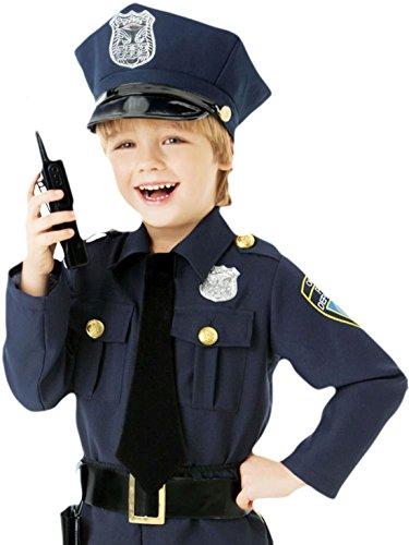 Zauberclown - Jungen Karneval Kostüm Polizei Offizier, Dunkelblau, Größe 104-116, 4-6 Jahre