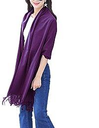 ISASSY Women's Winter Warm Cashmere Blend Solid Elegant Long Pashmina Shawl Wrap Scarf Scarves
