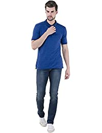 Lyos Men's Stylish Slim Fit Cotton Jeans, Dark Blue Color Faded Denims.