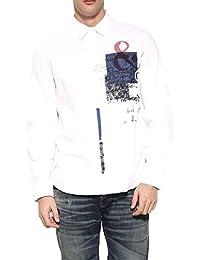 Desigual Herren Freizeit-Hemd weiß weiß